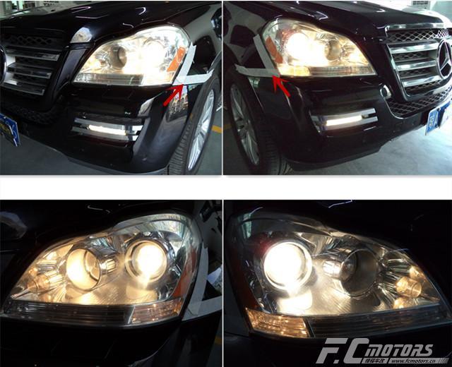 东莞改灯【锋程车改】奔驰GL350原车灯太暗升级原装进口 ...��2��