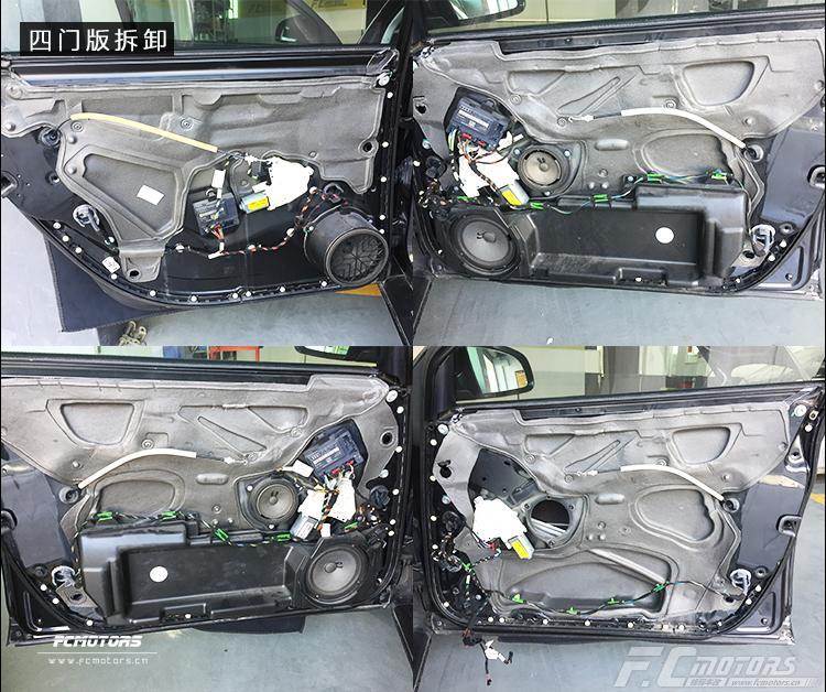奥迪a6升级雷贝琴  师傅先将原车四门的喇叭拆卸下来,再将最里面的那